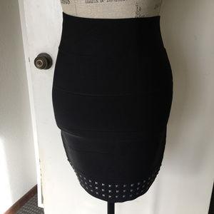 BCBG High Waisted Studded Black Skirt